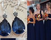 Navy Blue Wedding Bridesmaid Earrings Set of 5 Pairs Bridesmaids Jewelry Bridal Party Gift Pear Shaped Earrings Clip On Earrings Available