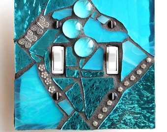 Shimmering Pool  -  Hand Made by Me  - Double Mosaic Light Switch Cover Wall Plate