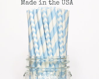Light Blue Stripe Chevron Paper Straws, Paper straws Party supplies Wedding Table Setting, Blue Baby Shower, Kids Birthday Party Straws, USA