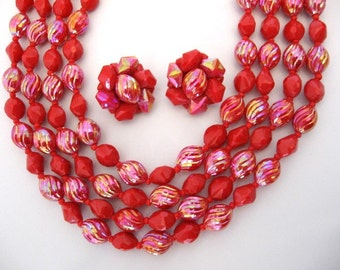 Vintage Western GERMANY Red Ab Beaded Necklace Cluster Earrings Set - 4 Strand