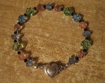 Bracelet, vintage Swarovski, black spinel, sterling magnetic clasp