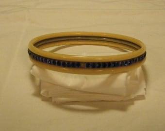 RARE Vintage Celluloid Bracelet with Channel Set Blue Rhinestones Bangle Bracelet