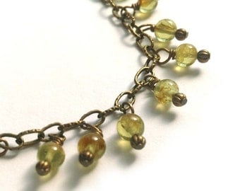 Peridot Gemstone Bracelet - Beads on Antiqued Brass Link Chain