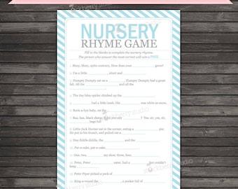 Blue Baby Shower Nursery Rhyme Game Printable - Instant Download - Light Blue Baby Shower Game Nursery Rhyme Quiz - Boy Baby Shower Games