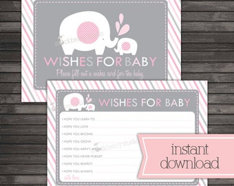 Girl Elephant Baby Shower Wishes For Baby Card - Pink and Gray - Instant Download - Well Wishes For Baby - Advice Cards - Well Wishes Cards