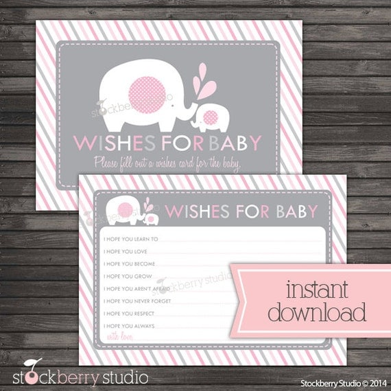 Baby Shower Message For Card: Girl Elephant Baby Shower Wishes For Baby Card