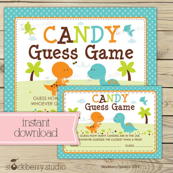 dinosaur baby shower candy guessing game printable instant. Black Bedroom Furniture Sets. Home Design Ideas