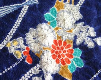 "Shibori Fans B - Vintage Kimono Silk Fabric (45"" x 14 1/4"")"