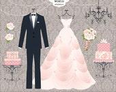 Wedding clipart, wedding Dress, Tuxedo, Wedding Gown, wedding cake