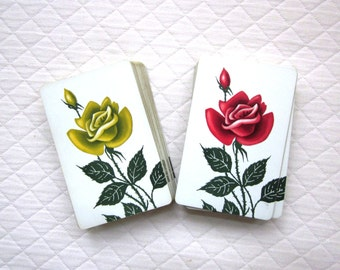 Two Vintage Decks US Playing Cards, Red Rose, Yellow Rose - Very Hard to Find Images