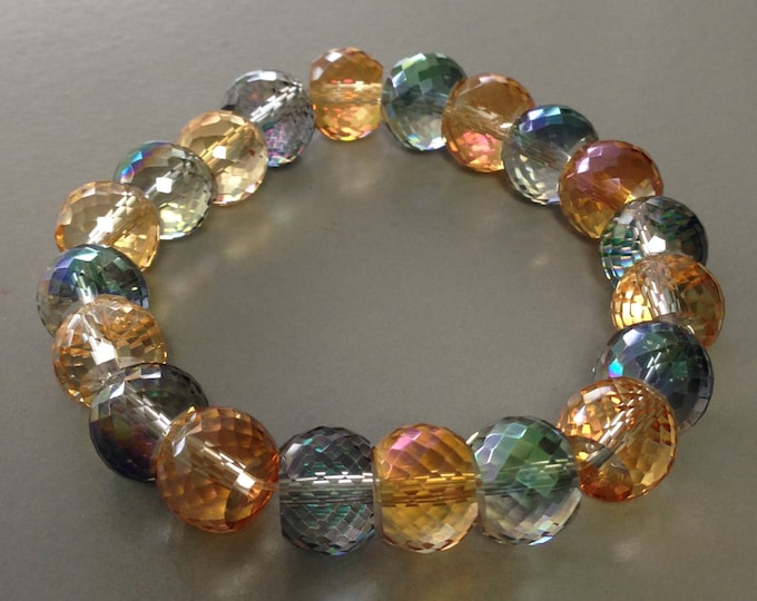 Micro Faceted Purple Amber Aurora Borealis Crystal Glass Bead Stretch Bracelet Rainbow Sparkle