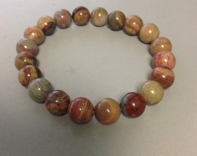 Silver Leaf Jasper 10mm Round Bead Stretch Bracelet With Sterling Silver Accent