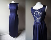 Vintage VICTOR COSTA Purple Satin Evening Gown Back Cut Out with Lace Medium Gown Size 8 Gown Plum Gown Evening Dress Floor Length