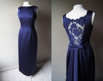 Vintage VICTOR COSTA Purple Satin Evening Gown - Back Cut Out with Lace - Size 8