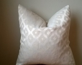 Designer diamond ikat jacquard throw toss pillow cover on trend off white beige neutral natural metallic rustic luxe 18