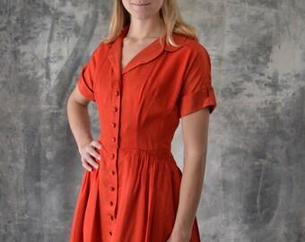 1950s Red Satin Costume Dress