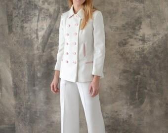 1960s White Lilli Ann Knits Three Piece Suit Size Medium