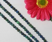 2 Strand blue green Azurit Chrysocolle 6mm round Beads