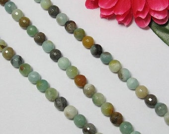 2 Strand Amazonite 8mm round faceted Loose Beads