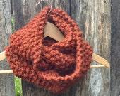 WINTER SALE womens infinity knit cowl scarf // spice, burnt orange, rust