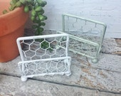 Business Card Holder Shabby White Light Sage Green Chicken Wire Office Decor-Card Holder Craft Room-Cottage Chic-Rustic Chicken Wire-Booth