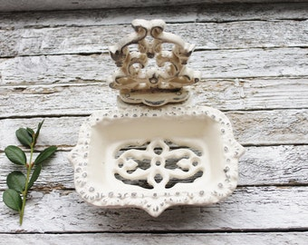 Creamy Ivory White Business Card Holder-Soap Dish-Bathroom Decor-Victorian Nautical Shabby Chic-Farmhouse-Shabby Country Cottage