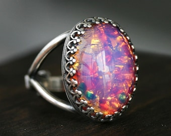 Pink Fire Opal Cocktail Ring