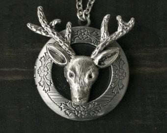 50% OFF SALE Deer Locket - Reindeer