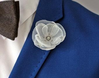 Elegant white organza flower lapel pin, Mens lapel flower pin, Boutonniere, Lapel Flower pin, rose boutonniere, flower lapel pin, mens gift,