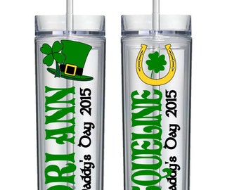 Personalized St. Paddy's Day Skinny Tumbler, St. Patrick's Day, Irish