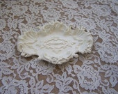 RESERVED -Vintage metal trinket dish, soap dish, creamy white, cottage chic, farmhouse