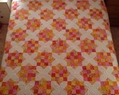 "Goodnight Irene Queen Sized Quilt ""Pink Lemonade"" Batik Fabrics"