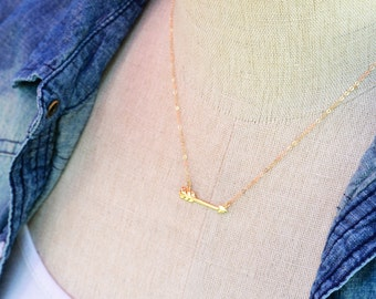 Sideways Tribal Arrow Necklace, 14k GOLD, Sterling Silver or Rose Gold Arrow Necklace, Best Friend Necklace, Graduation Necklace, Sisters