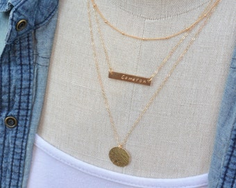 Layered Set of 3 Necklaces / GOLD Personalized Bar Layering Necklace Set GOLD / Nameplate Jewelry / Couples Necklace / Monogram Necklace Set