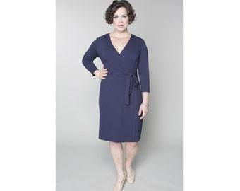 Classic Wrap Sheath Dress Matte Jersey Customizable 4 Lengths Misses & Plus Sizes 2-28