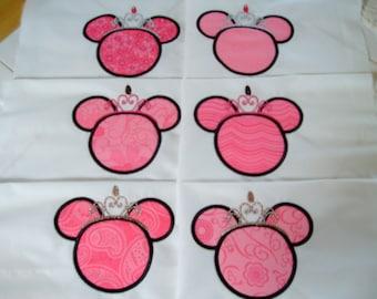 quilt blocks minnie mouse quilt blocks  embroidered minnie mouse  princess quilt blocks