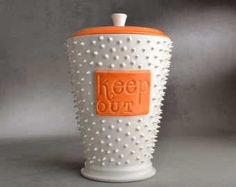 Candy Jar Ready To Ship Keep Out Dangerously Spiky Cookie Jar by Symmetrical Pottery