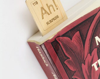 Periodic Table of Elements, The Element of Surprise Wooden Bookmark, Ah!, solid maple, Paul Szewc Masterpiece Gallery