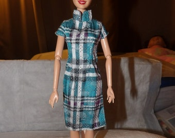 Asian inspired blue striped dress for Fashion Dolls - ed689a