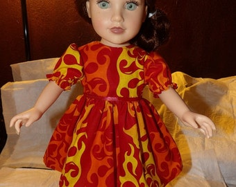 Scortching hot flame print full dress for 18 inch Dolls - ag251