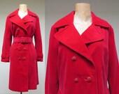 Vintage 1960s Coat / 60s Mod Red Velvet Trenchcoat / Medium