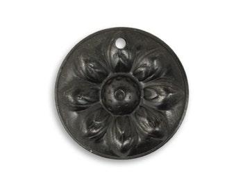 2 pcs  Vintaj Arte Metal Black 22mm Sunflower Detail -Art Metal Etched Jewelry Findings Craft Supplies Tools