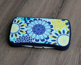 Boutique Baby Wipes Case - Blue Floral - Wipes Clutch - Wipe Holder- Travel Wipes - Ready to Ship.