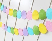 Easter Egg Bunting - made with wool blend felt in rainbow colours, lovely item to add to your Easter decor.