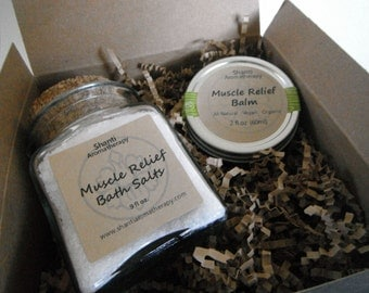 Spa Gift Set - Muscle Relief Gift Set - 9oz Bath Salts - Muscle Soak - Gifts For Dad - Gifts For Mom - Gifts For Athletes