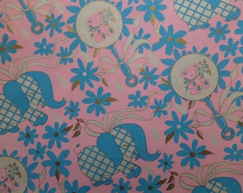 Vintage Baby Shower Elephant Rattles Gift Wrap Wrapping Paper
