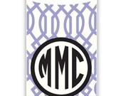 TRELLIS REVERSE Personalized, Monogram Water Bottle, Aluminum Water Bottle - customizable pattern and monogram - perfect for back-to-school