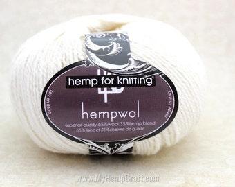 White Hemp Yarn, 750ft Creamy White Hemp/Wool Blend