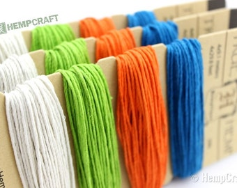 Bright Hemp Twine, 1mm Bright Color Card Four Pack Hemp Craft Cord