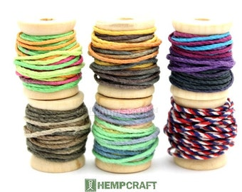 Hemp Twine Mini Spools, Variegated Combo, High Quality 1mm Hemp Crafting Cord